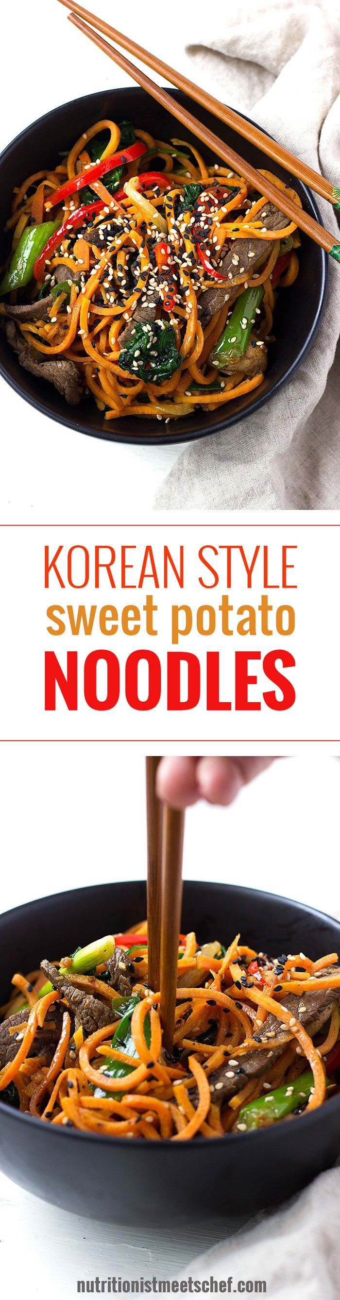 This Korean Style Sweet Potato Noodles is inspired by the popular korean dish Japchae, but has spiralised sweet potatoes instead of glass noodles! See more at nutritionistmeetschef.com