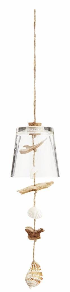 Madam Stoltz Madam Stoltz Windgong glas-schelp-hout 45cm