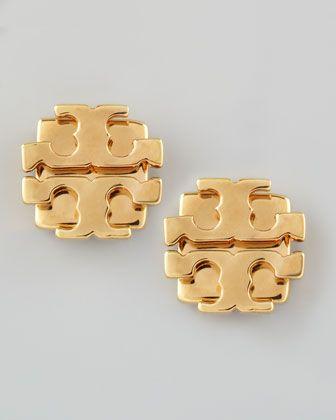 Tory Burch Small T-Logo Stud Earrings, Golden - Neiman Marcus