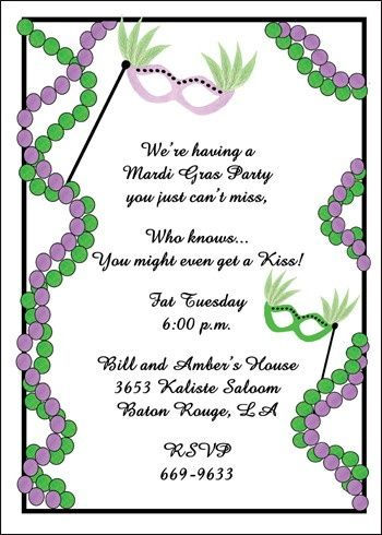 Create Your Mardi Gras Mask And Beads Invitation Wordings And Add