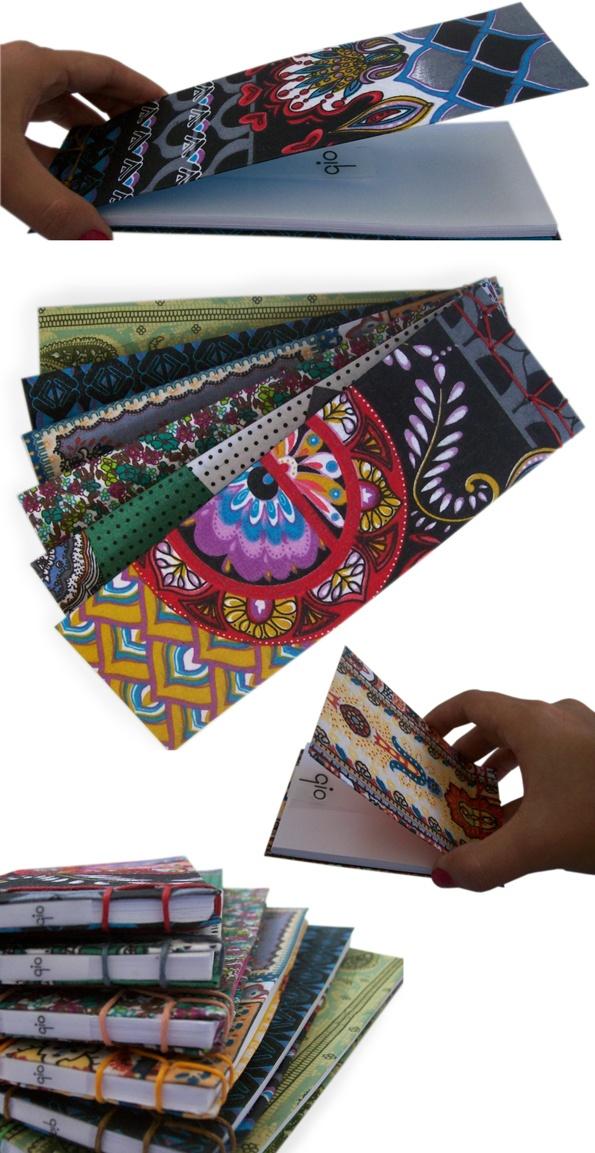 alejandra varela textil: Libretas artesanales de tela con encuadernación japonesa