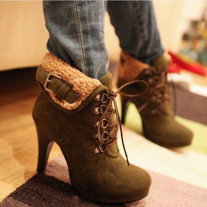 Новая Мода Стиль 4 Цвета Новая Мода Черный Стиль Ботильоны Тонкие Каблуки Каблуки Ремень Сапоги Повседневные Туфли На Каблуках