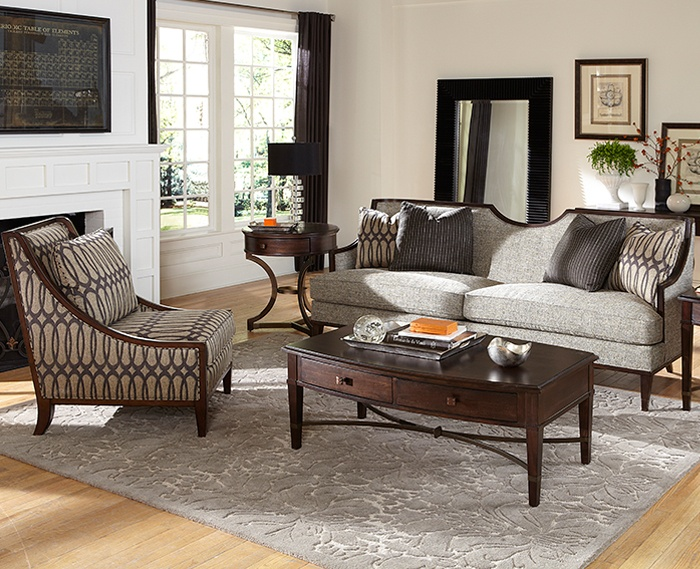 A R T Harper Intrigue Wood Trim Modern Sofa Features A Sweeping Half Moon Focal Point On The