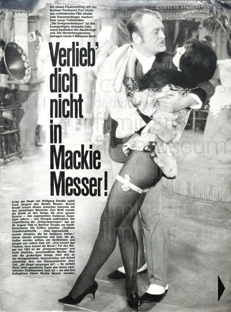 """Nachlass Curd Jürgens   DIE DREIGROSCHENOPER (1963) NEUE ILLUSTRIERTE: """"Verlieb' dich nicht in Mackie Messer!"""", 13.1.1963"""