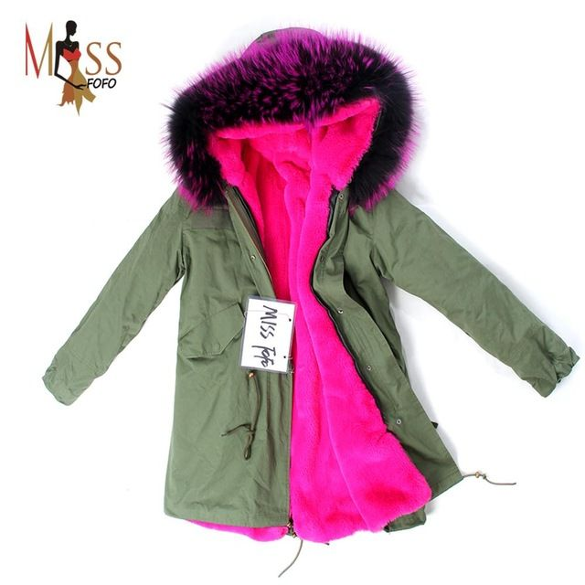 2016 women's army green Large color raccoon fur hooded coat parkas outwear long detachable lining winter jacket brand style  US $177.09 /piece    CLICK LINK TO BUY THE PRODUCT  http://goo.gl/oYWEYs
