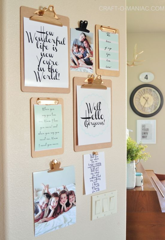 Think outside the box and create a gallery wall that is chic. We're inspired by this unique clipboard design.