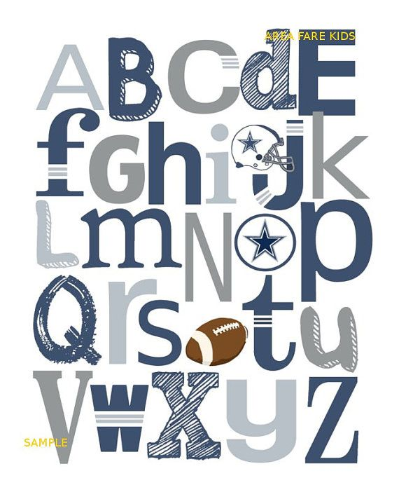 8 x 10 DALLAS COWBOYS football ABC Nursery Art by AreaFareKids