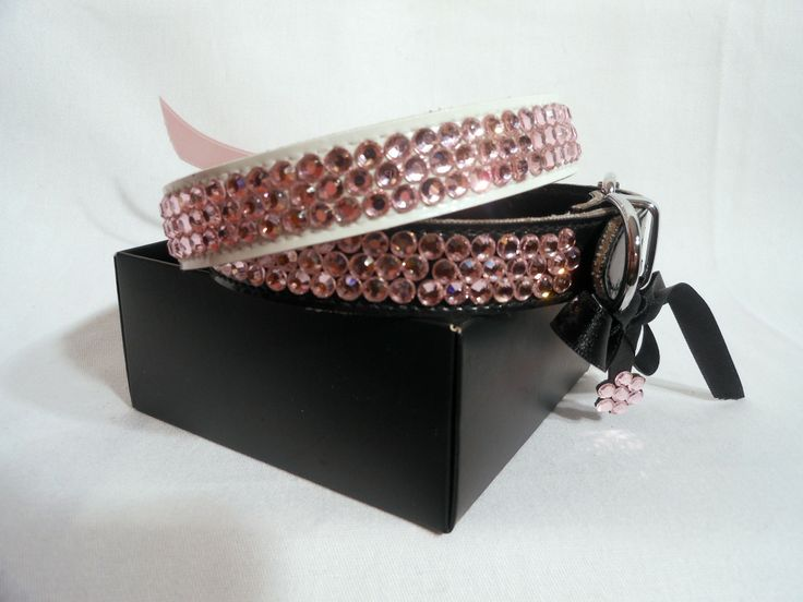 PINK DELUXE $34.95 Same honeycomb design in pretty pink. All diamante collars are hand made. Color options Black and White.