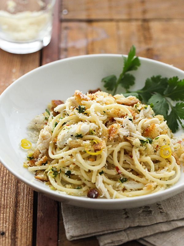 Crab Spaghetti with Lemon Gremolata brings some fast class to weeknight dinners #recipe
