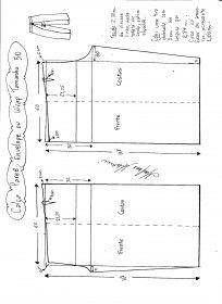 Esquema de modelagem de Calça Pareô, Wrap ou Envelope tamanho 50.