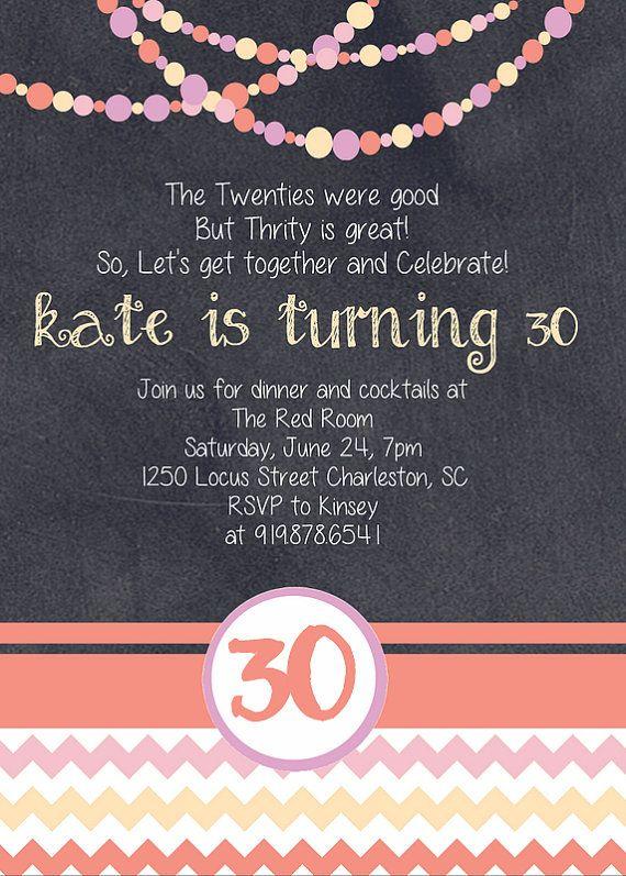 Chalkboard 30th Birthday Invitation by SJPInvitations on Etsy, $12.00