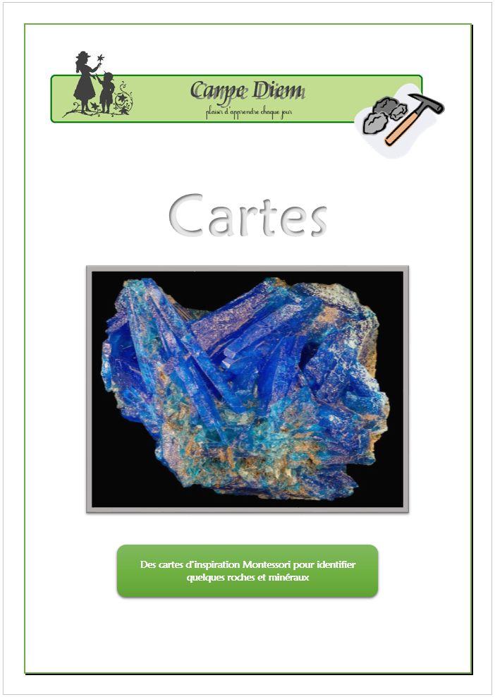 Des cartes d'inspiration Montessori sur les roches et minéraux. www.carpediem.asso.fr