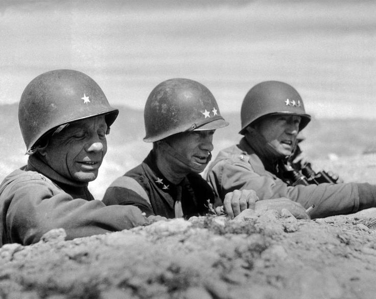 TUNISIA. El Guettar. March 1943. US generals Theodore ROOSEVELT Jr, Terry ALLEN and George PATTON. Patton lead the US Army to it's first victory against German forces at El Guettar.
