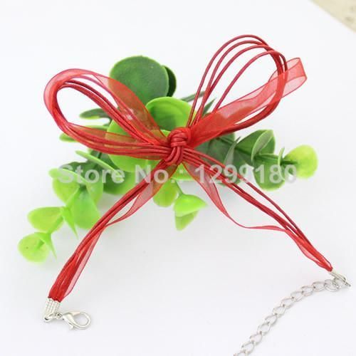 50pcs/lot 17-19 Inch Adjustable Assorted Colors Organza Ribbon Necklace Cord with Lobster Clasp For DIY Jewelry Making (K00610)