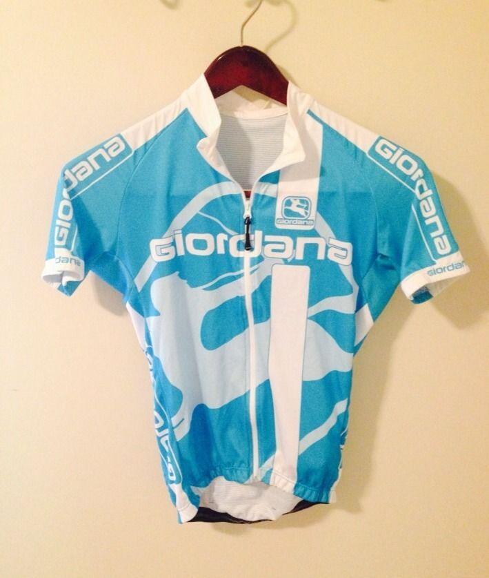 Giordana Cycling Blue & White Shirt mens large (size 10) W/ Elastic Back Pocket #Giordana