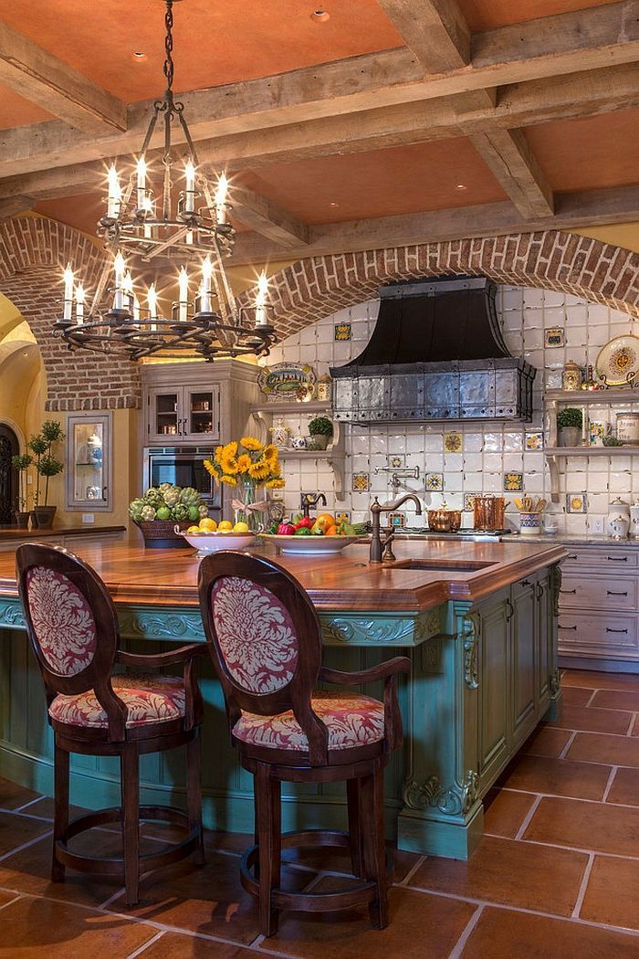 tiles colors and contours shape a gorgeous mediterranean kitchen
