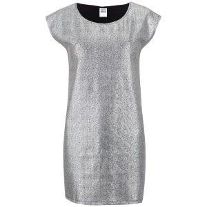 Vero Moda Women's Uru Short Sleeve Metallic Foil Dress - Silver: Image 01