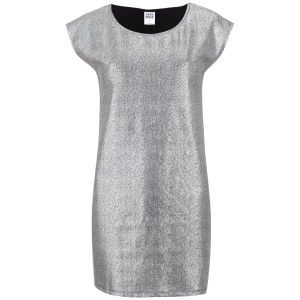 Vero Moda Women's Uru Short Sleeve Metallic Foil Dress - Silver: Image 01