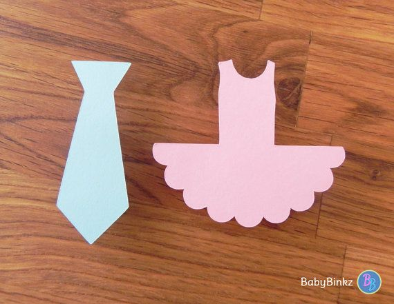 Party Pins: Ties or Tutus Gender Reveal Baby Shower - Die Cut Pink Girl Tutus & Blue Boy Ties