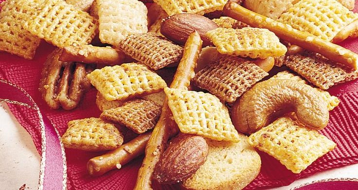 Peppy Chex™ Party Mix -- 6tablespoons butter or margarine 2tablespoons Worcestershire sauce 1 1/2teaspoons seasoned salt 2to 3 teaspoons red pepper sauce 3cups Corn Chex™ cereal 3cups Rice Chex™ cereal 3cups Wheat Chex™ cereal 1cup mixed nuts 1cup bite-size pretzels 1cup garlic-flavor bite-size bagel chips, or regular-size bagel chips, broken into 1-inch pieces