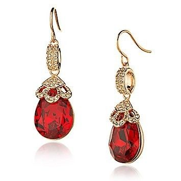 Gorgeous red ruby and diamond earrings in a gold setting. Love these.