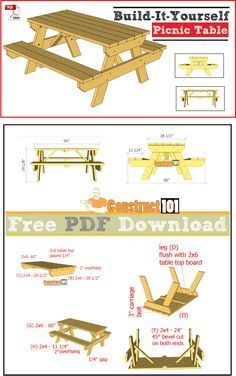 Picnic table plans, free PDF download, cutting list, and shopping list.