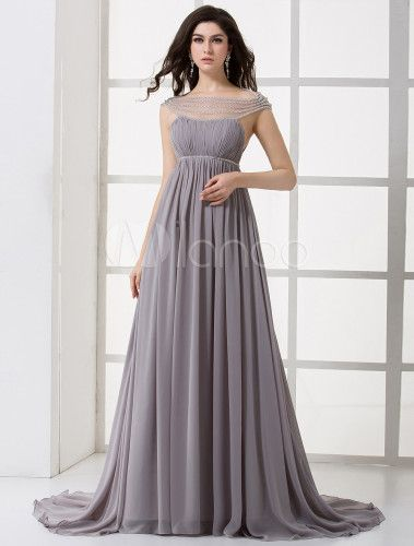 Vestido de noche de gasa de color lavanda con escote alto de línea A de cola capilla-No.3