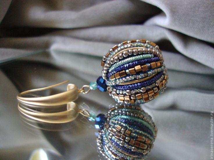 """Купить Серьги """"Касабланка"""". - крупные серьги, красивые серьги, Вышивка бисером, яркое украшение"""