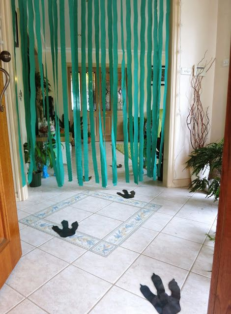 1st bday party idea :) for entrance that loose string and  Dino foot prints from entrance till inside ! Yippie! Planning ahead ;)