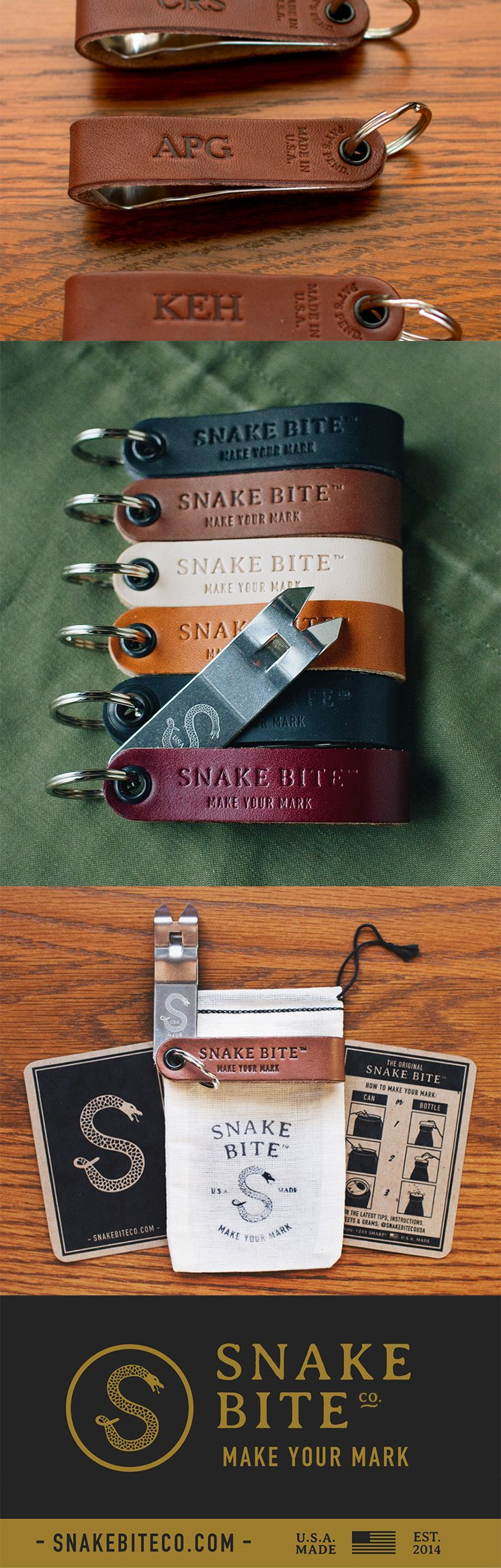 Custom monogrammed Snake Bite Bottle Openers are the perfect Groomsmen's Gift idea. These are 100% made in the USA and come in a variety of leather colors. Click on the image to learn more about all the custom options available for your big day!