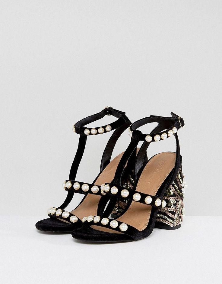 ASOS HALL OF FAME Embellished Heeled Sandals - Black