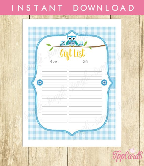 Instant Download Blue Owl Baby Shower Gift Registry Lime Blue Brown Owl Baby Shower Gift List for Boy Baby Shower Tracking Sheet by TppCardS #tppcards
