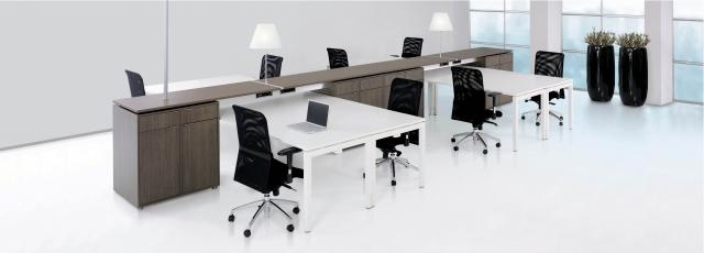 Office workstation: Markant's Backbone concept is the spindle of the office environment, combining four workstations with each other. It stimulates cooperation between employees, but ensures the individual needs and privacy at the same time.