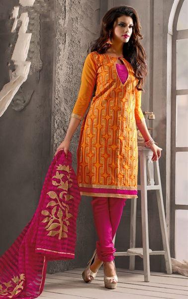 Wonderful Orange Color Casual Salwar Kameez