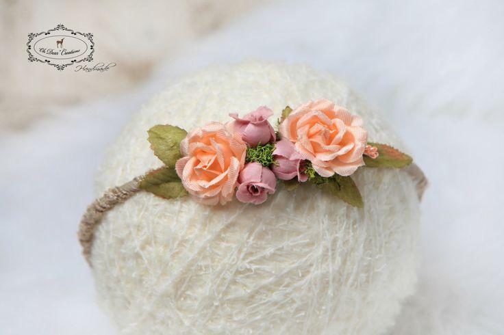 Flower crown,Flower headband,Spring floral crown, wedding hair accessory, Birthday party, flower girl, baby shower, baby girl hair accessory by OhDearAccessories on Etsy