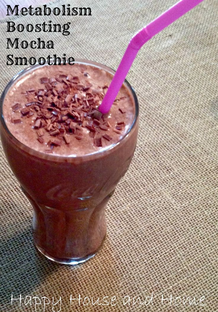 Metabolism Boosting Mocha Smoothie 1 Frozen banana 1/2 cup cold coffee 1/2 cup milk 1tbsp cocoa powder 1tbsp peanut butter DONE!