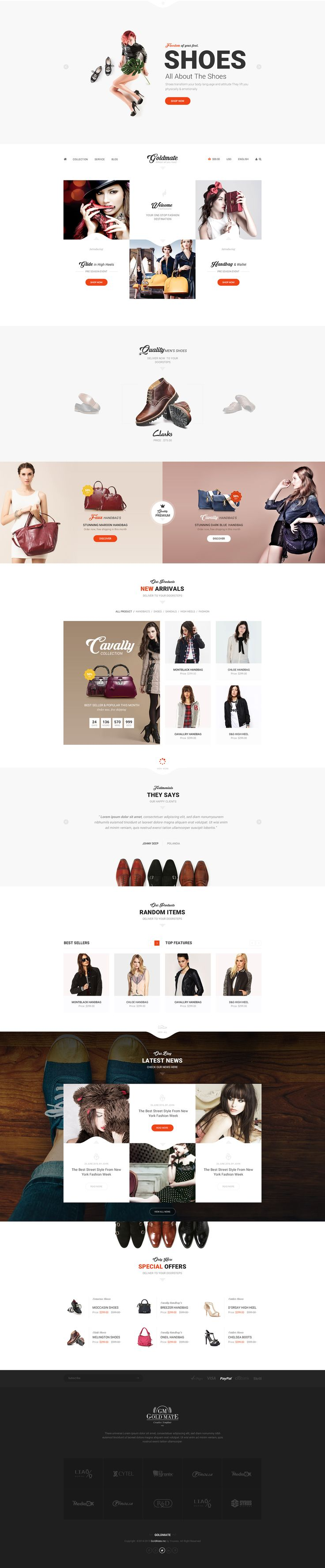 GoldMate e-commerce psd template on Behance