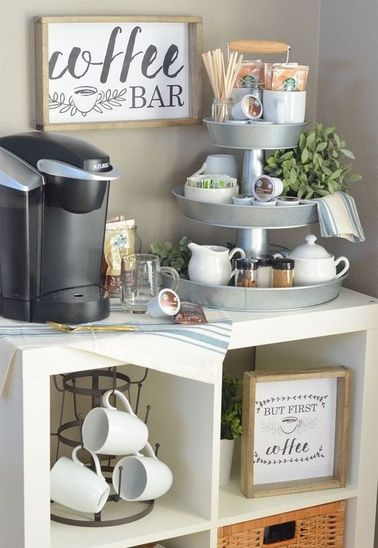 Who doesn't need a coffee bar?!! Right??? I love this inspiration ensemble! However I am a BIG coffee drinker so I would need to exchange the Keurig out for a 12 cup coffee maker! hahaha  I love the farmhouse style coffee mug tree and mine is ordered and on its way!! I am just in love with this look and come see my finds and shop this look--more coffee?? yes please   #MyShopStyle #ShopStyle #mylook #shopthelook