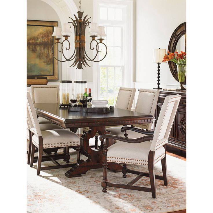 The Innerplay Of Light And Dark Is A Hallmark New Traditional Style Beautifully Exemplified In Dining Room Table With Its Carved Trestle