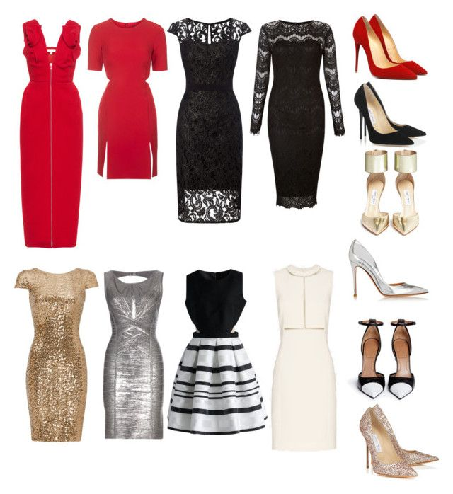 """Christmas dinner outfit ideas"" by briannagiselle on Polyvore featuring Delpozo, Topshop, Adrianna Papell, AX Paris, Badgley Mischka, Chicwish, Hervé Léger, Alexander Wang, Jimmy Choo and Givenchy"
