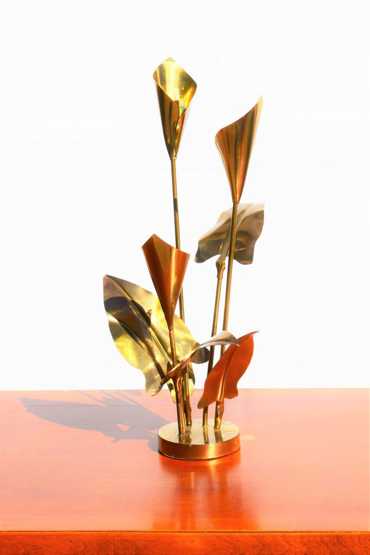 Brass Calla Lily Candle Stick Centerpiece Large by YeOldeTreasureTrail on Etsy