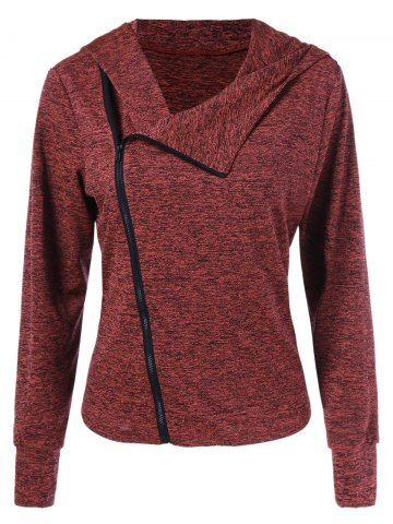 GET $50 NOW | Join RoseGal: Get YOUR $50 NOW!http://m.rosegal.com/sweatshirts-hoodies/inclined-zip-heather-curved-hoodie-970884.html?seid=10263923rg970884