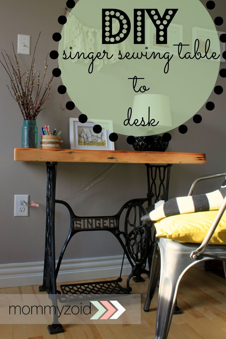 Up-cycle an old sewing machine table into a desk via www.mommyzoid.ca