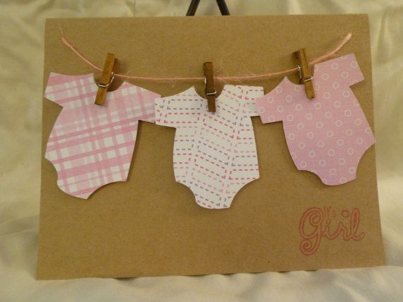 Baby girl card - Welcome new baby girl by MyCraftyPantsDesigns on Etsy, $5.50