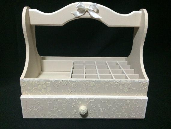 Nail Polish Organizer Wooden Storage Box with by CLVLArtsBrazil, $50.00