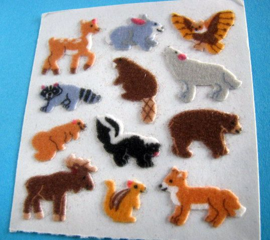 Vintage Sandylion Fuzzy Woodland Animals Stickers 80's Fox Squirrel Wolf Rabbit Raccoon Elk Skunk Eagle, via Etsy.