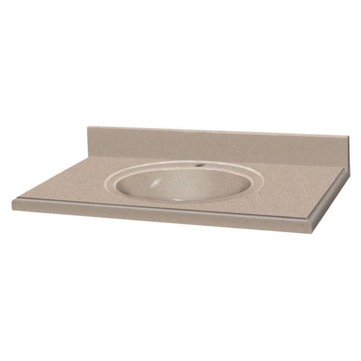 decor solid surface single sink vanity top desert earth