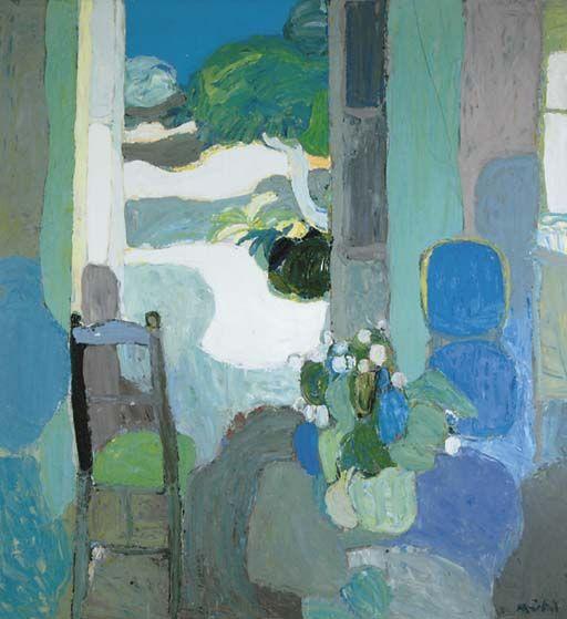 Roger Mühl (French, 1929-2008), La Porte ouverte. Oil on canvas, 63 x 59 in.