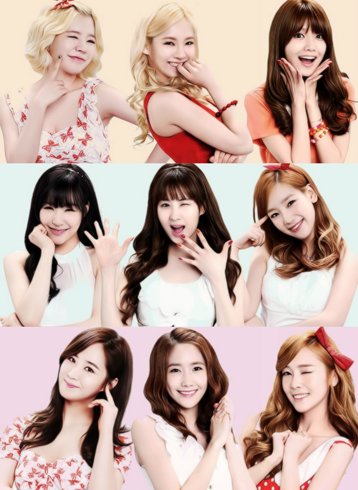 As you can see, with have the 3 families(In my opinion anyway) │HyoSooSun(L-R: Sunny. Hyoyeon. Sooyoung) │ SeoTaeNy/TaeTiSeo(L-R: Tiffany. Seohyun. Taeyeon) │ YoonYulsic(L-R: Yuri. Yoona. Jessica)