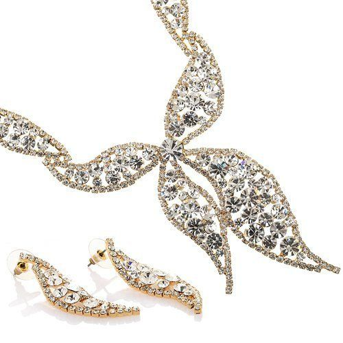 Butterfly Necklace & Earrings Jewellery Set. Finest Swarovski & Czech Crystals on a 14k Gold or Rhodium Plated Setting Q89hbCQTgG